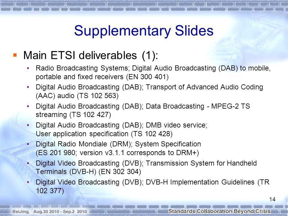 Supplementary Slides Main ETSI deliverables (1): Radio Broadcasting Systems; Digital Audio Broadcasting (DAB) to mobile, portable and fixed receivers (EN 300 401) Digital Audio Broadcasting (DAB); Transport of Advanced Audio Coding (AAC) audio (TS 102 563) Digital Audio Broadcasting (DAB); Data Broadcasting - MPEG-2 TS streaming (TS 102 427) Digital Audio Broadcasting (DAB); DMB video service; User application specification (TS 102 428) Digital Radio Mondiale (DRM); System Specification (ES 201 980; version v3.1.1 corresponds to DRM+) Digital Video Broadcasting (DVB); Transmission System for Handheld Terminals (DVB-H) (EN 302 304) Digital Video Broadcasting (DVB); DVB-H Implementation Guidelines (TR 102 377) 14