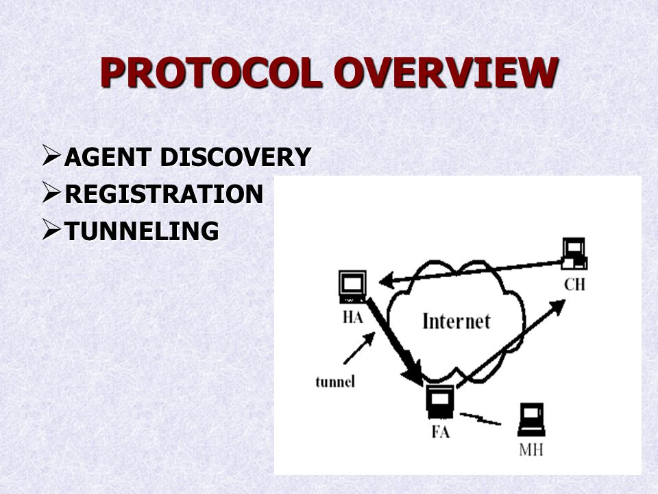 PROTOCOL OVERVIEW AGENT DISCOVERY AGENT DISCOVERY REGISTRATION REGISTRATION TUNNELING TUNNELING