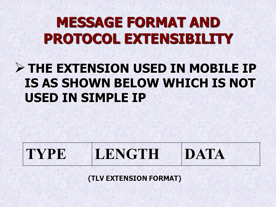 MESSAGE FORMAT AND PROTOCOL EXTENSIBILITY THE EXTENSION USED IN MOBILE IP IS AS SHOWN BELOW WHICH IS NOT USED IN SIMPLE IP THE EXTENSION USED IN MOBILE IP IS AS SHOWN BELOW WHICH IS NOT USED IN SIMPLE IP TYPELENGTHDATA (TLV EXTENSION FORMAT)