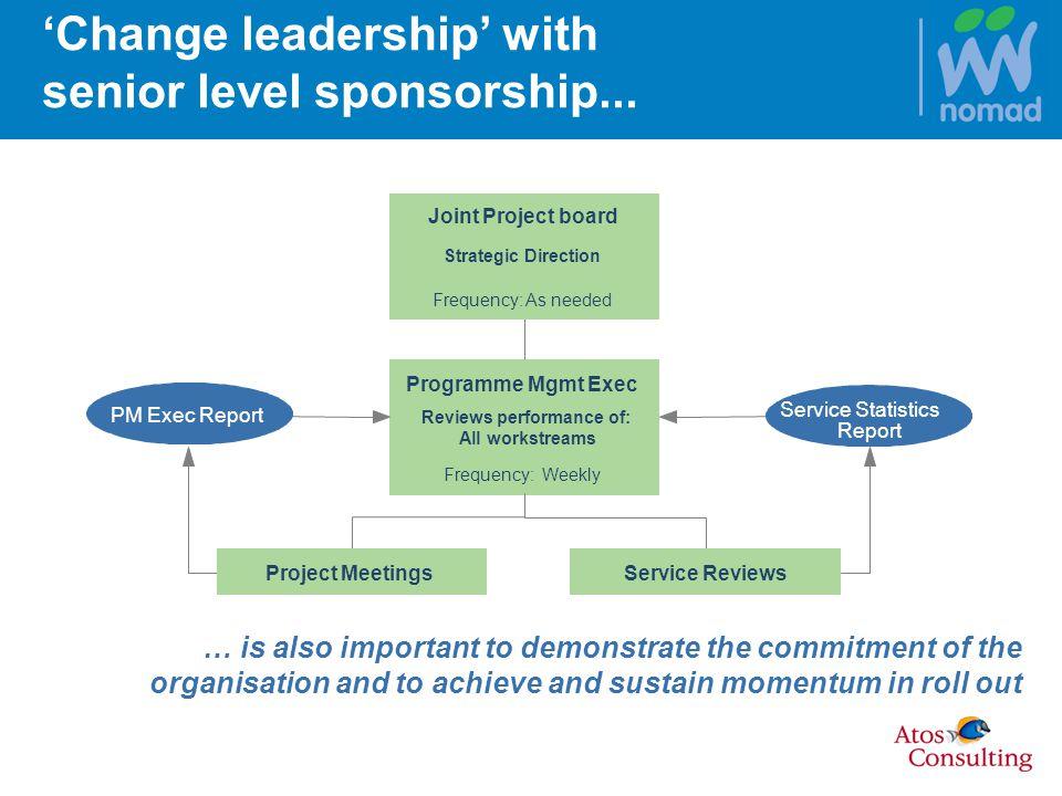 Change leadership with senior level sponsorship...