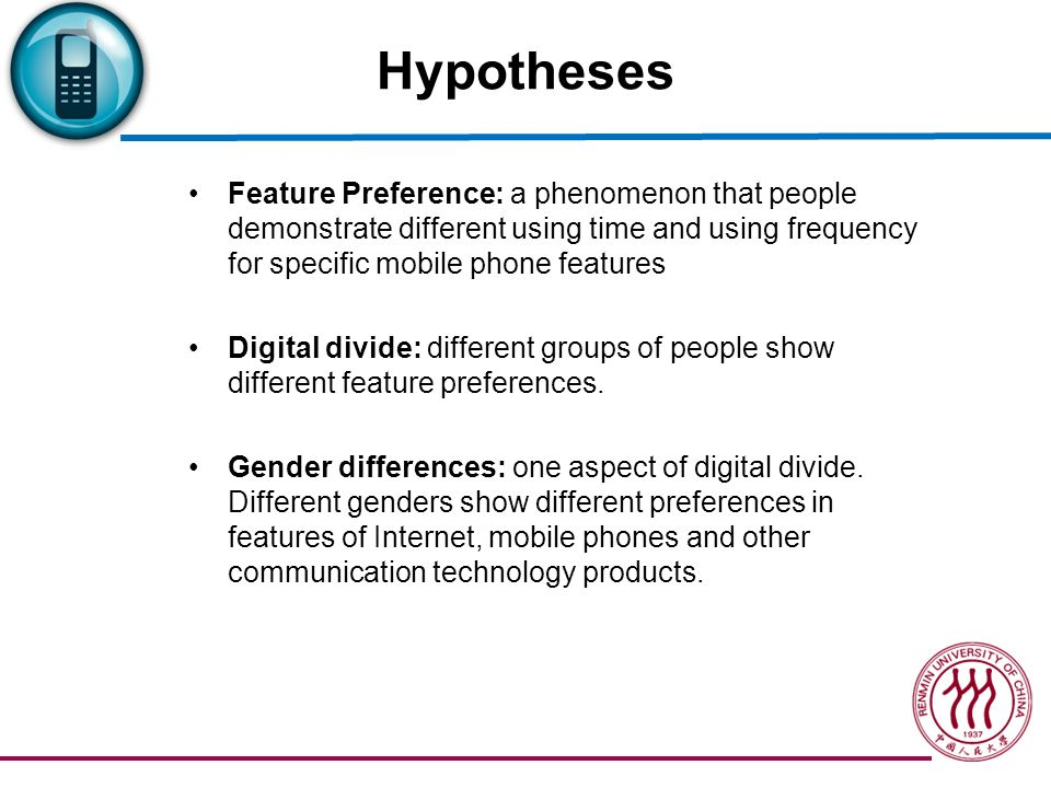 Hypotheses H1: Young people have feature preferences in using mobile phone.