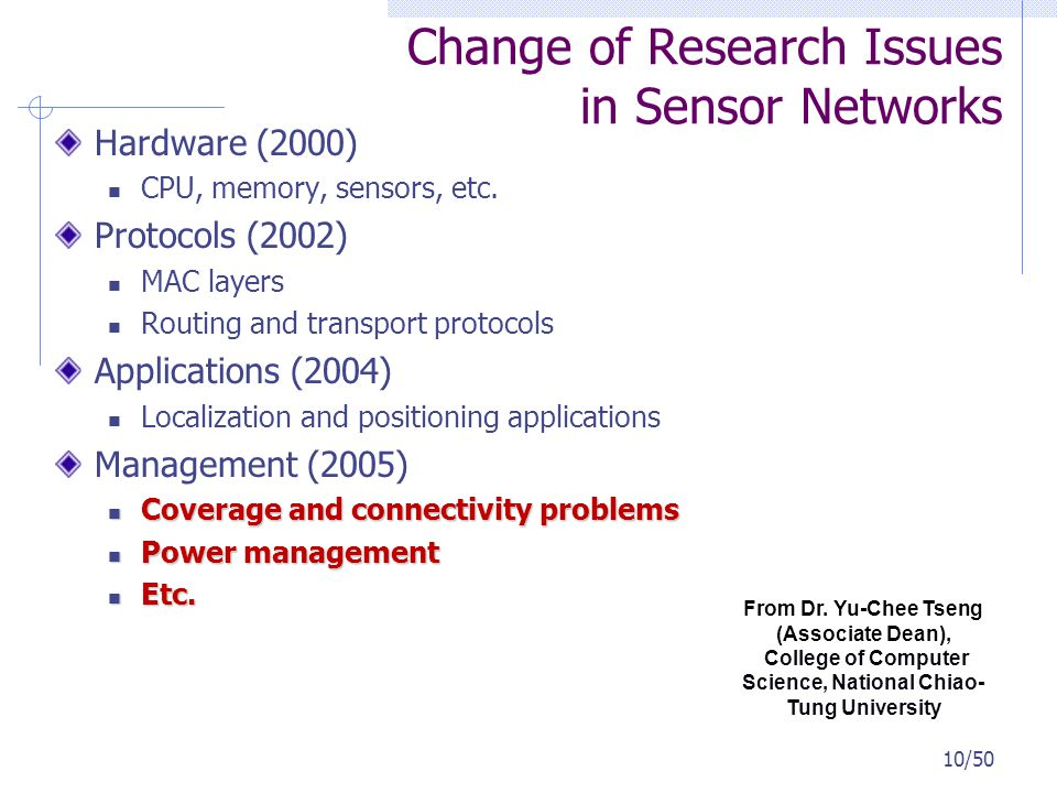 10/50 Change of Research Issues in Sensor Networks Hardware (2000) CPU, memory, sensors, etc. Protocols (2002) MAC layers Routing and transport protoc