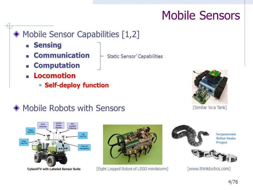 5/76 Mobile Sensor Robots : Distributed Multi-Robots with Sensing Capability Single Sensor vs.