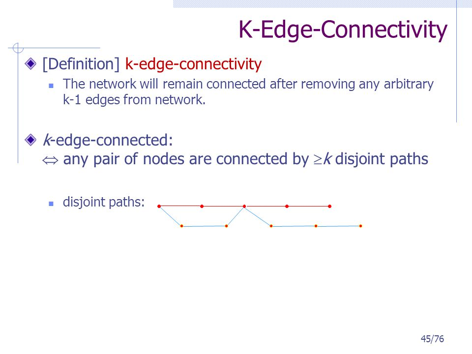 K-Edge-Connectivity [Definition] k-edge-connectivity The network will remain connected after removing any arbitrary k-1 edges from network. k-edge-con