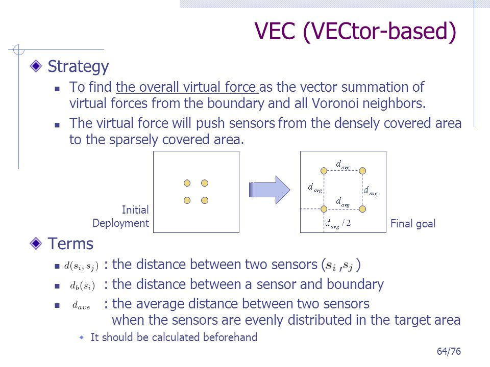 VEC (VECtor-based) Strategy To find the overall virtual force as the vector summation of virtual forces from the boundary and all Voronoi neighbors. T