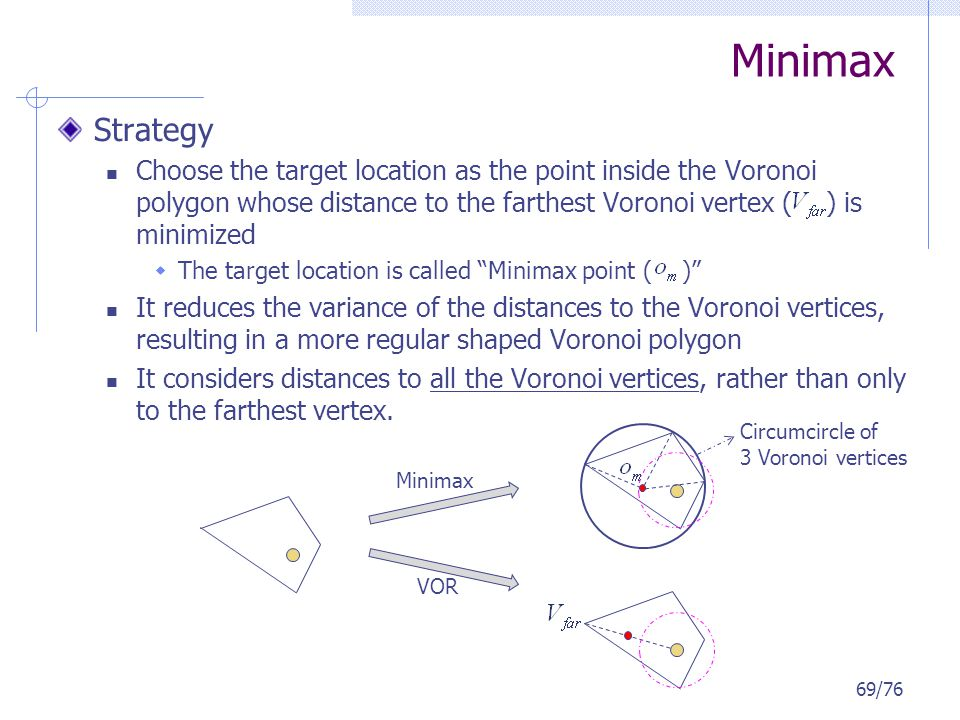 Minimax Strategy Choose the target location as the point inside the Voronoi polygon whose distance to the farthest Voronoi vertex ( ) is minimized The