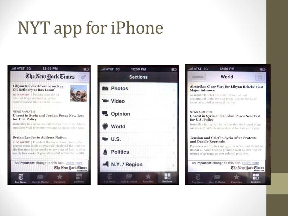 NYT app for iPhone