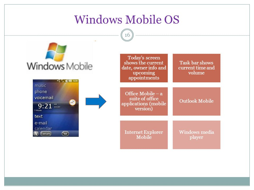Windows Mobile OS 16 Todays screen shows the current date, owner info and upcoming appointments Task bar shows current time and volume Office Mobile – a suite of office applications (mobile version) Outlook Mobile Internet Explorer Mobile Windows media player