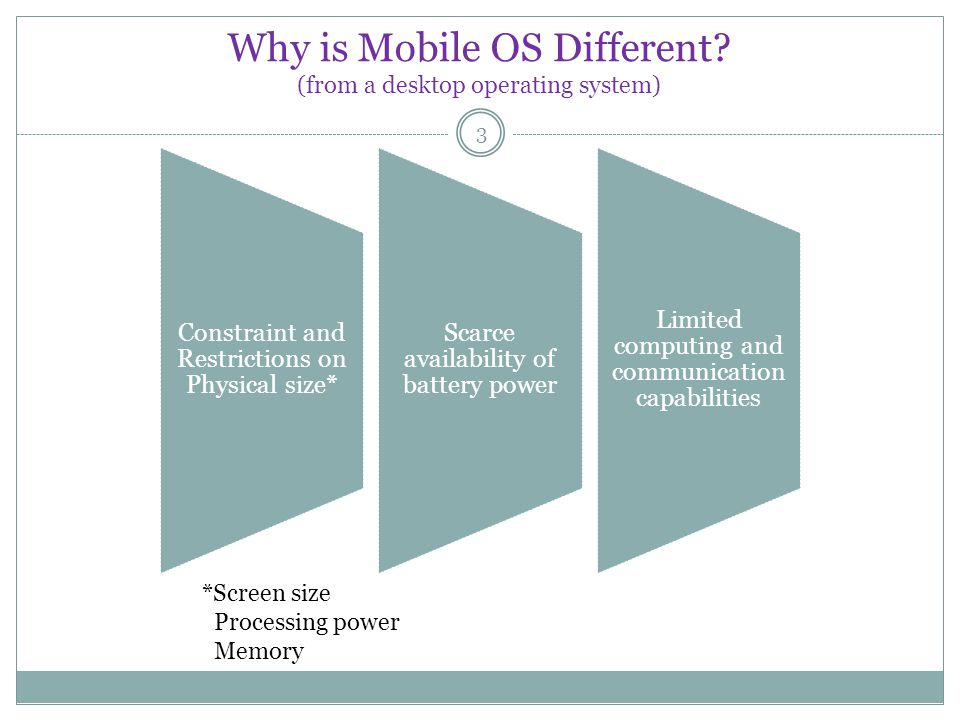 Why is Mobile OS Different? (from a desktop operating system) 3 Constraint and Restrictions on Physical size* Scarce availability of battery power Lim