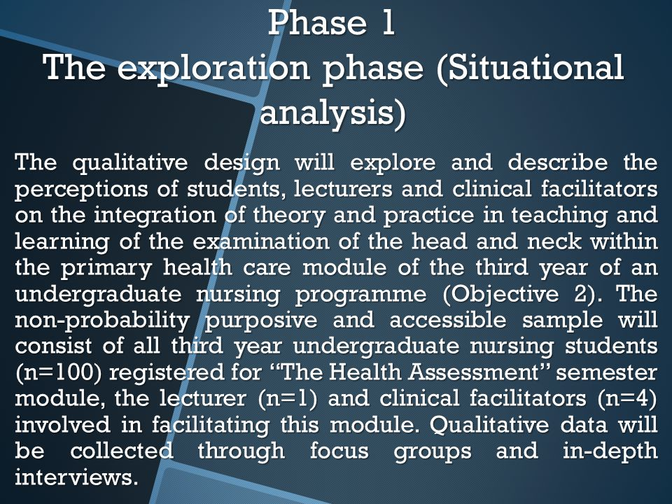 Phase 1 The exploration phase (Situational analysis) The qualitative design will explore and describe the perceptions of students, lecturers and clinical facilitators on the integration of theory and practice in teaching and learning of the examination of the head and neck within the primary health care module of the third year of an undergraduate nursing programme (Objective 2).