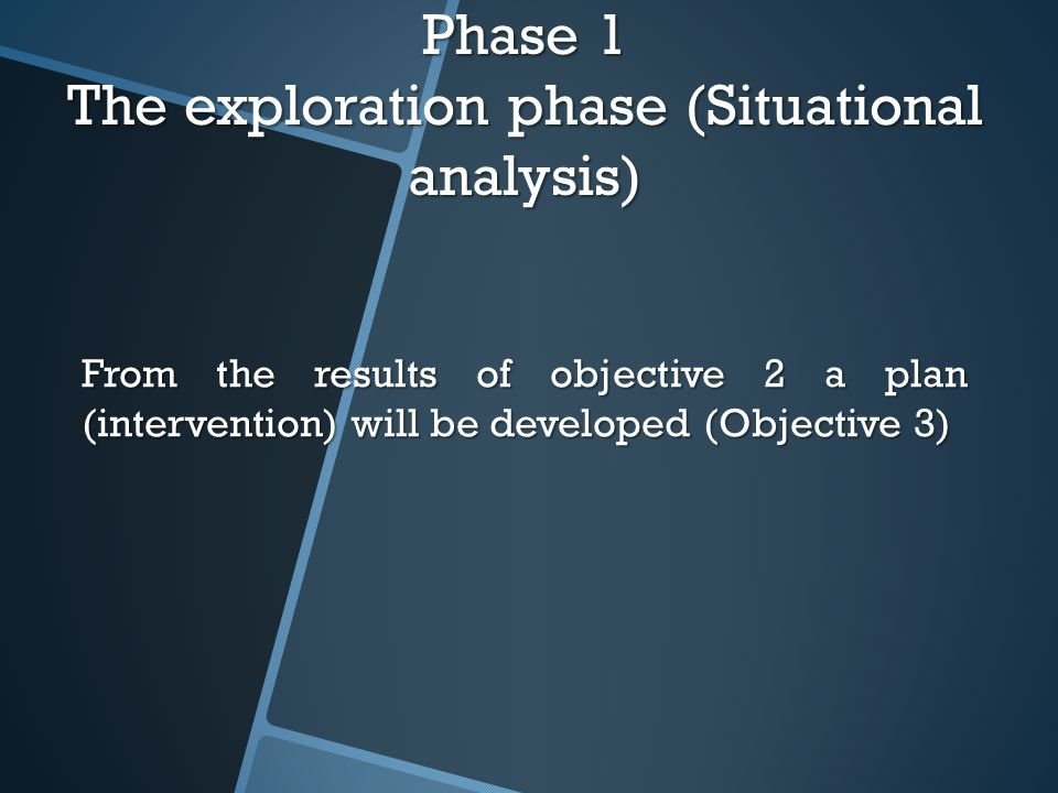 Phase 1 The exploration phase (Situational analysis) From the results of objective 2 a plan (intervention) will be developed (Objective 3)