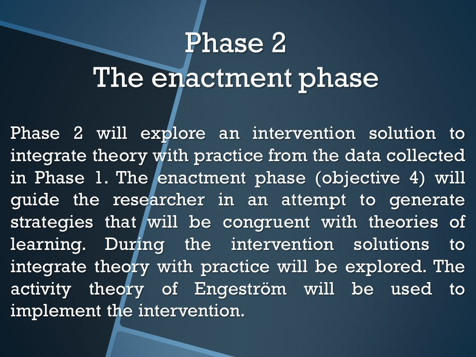 Phase 2 The enactment phase Phase 2 will explore an intervention solution to integrate theory with practice from the data collected in Phase 1.