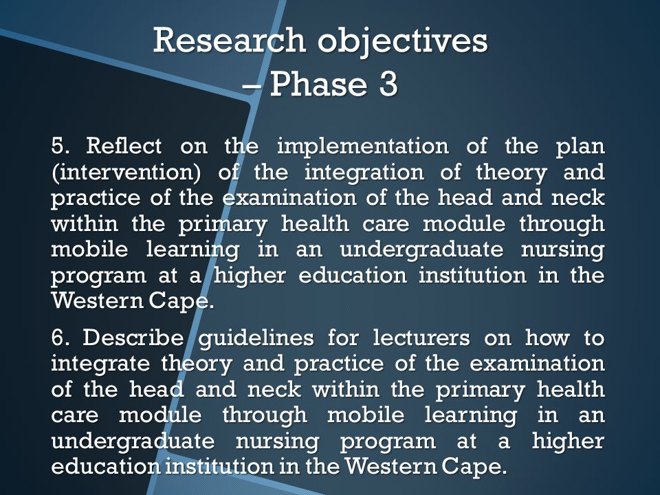 Research objectives – Phase 3 5.
