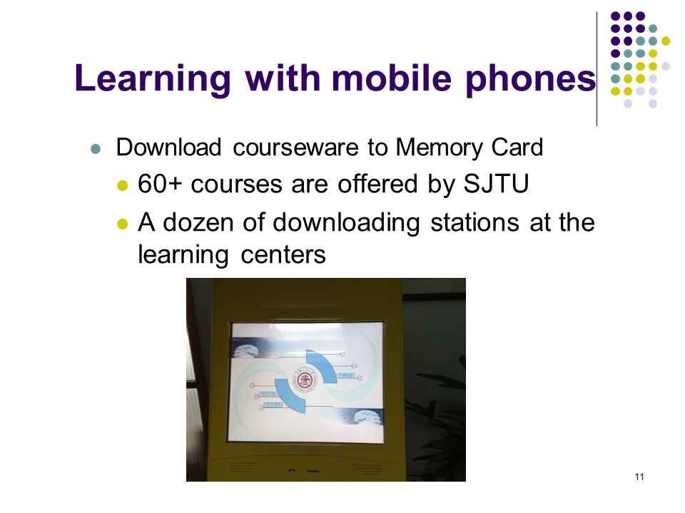 11 Learning with mobile phones Download courseware to Memory Card 60+ courses are offered by SJTU A dozen of downloading stations at the learning cent