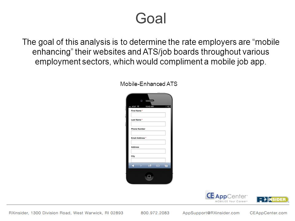 The goal of this analysis is to determine the rate employers are mobile enhancing their websites and ATS/job boards throughout various employment sectors, which would compliment a mobile job app.