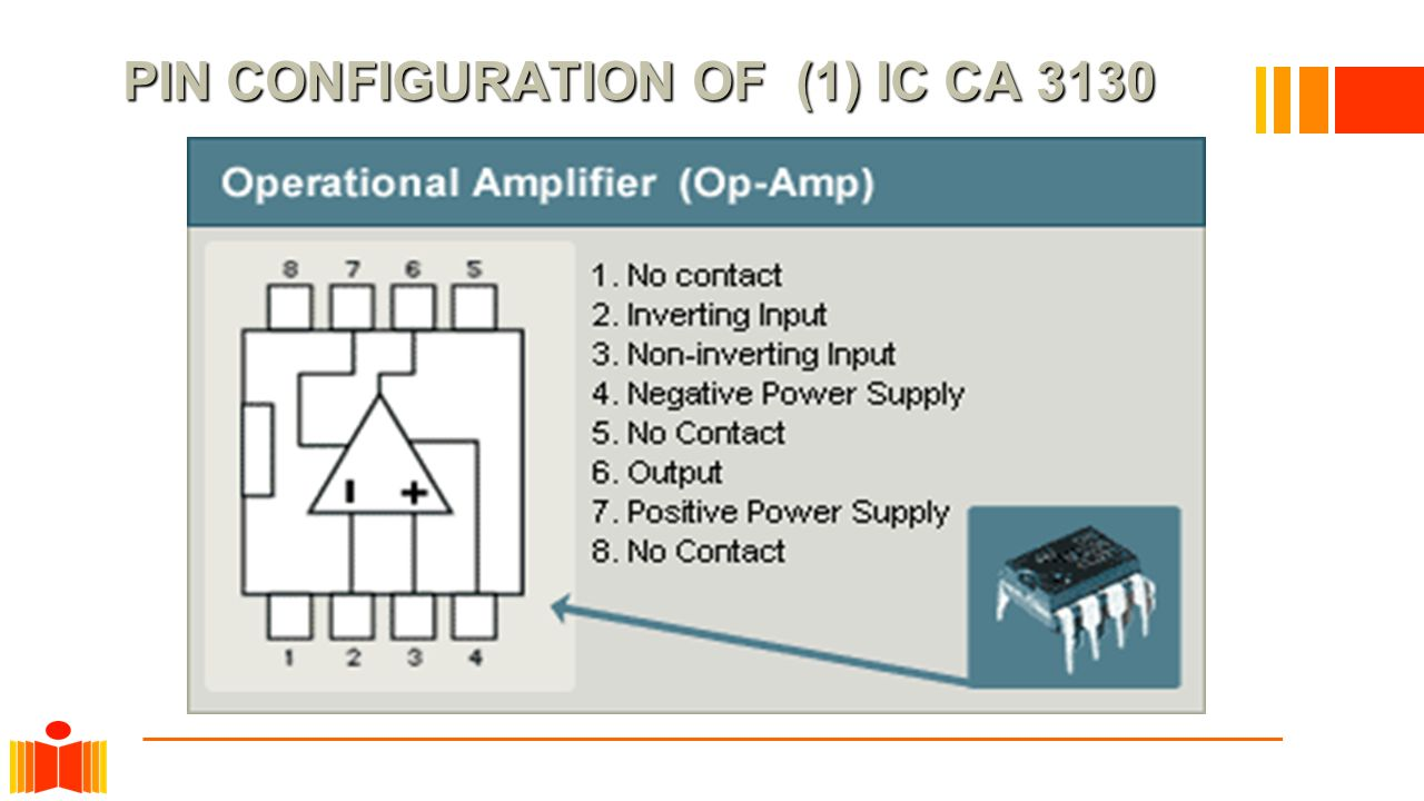 PIN CONFIGURATION OF (1) IC CA 3130 PIN CONFIGURATION OF (1) IC CA 3130
