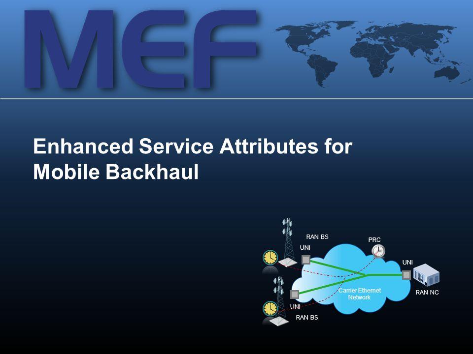 14 Enhanced Service Attributes for Mobile Backhaul Carrier Ethernet Network UNI RAN BS RAN NC UNI RAN BS UNI PRC