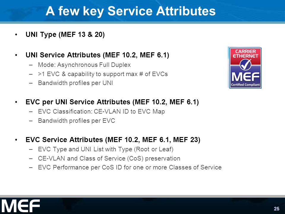 25 A few key Service Attributes UNI Type (MEF 13 & 20) UNI Service Attributes (MEF 10.2, MEF 6.1) –Mode: Asynchronous Full Duplex –>1 EVC & capability