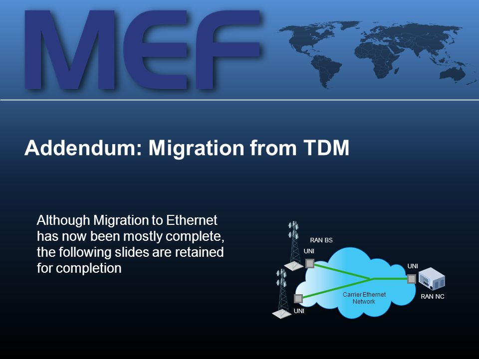 35 Addendum: Migration from TDM Carrier Ethernet Network UNI RAN BS RAN NC UNI Although Migration to Ethernet has now been mostly complete, the following slides are retained for completion