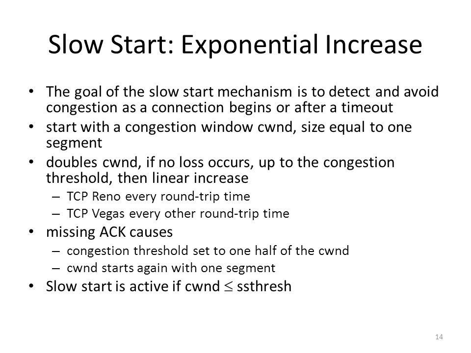 Slow Start: Exponential Increase The goal of the slow start mechanism is to detect and avoid congestion as a connection begins or after a timeout start with a congestion window cwnd, size equal to one segment doubles cwnd, if no loss occurs, up to the congestion threshold, then linear increase – TCP Reno every round-trip time – TCP Vegas every other round-trip time missing ACK causes – congestion threshold set to one half of the cwnd – cwnd starts again with one segment Slow start is active if cwnd ssthresh 14