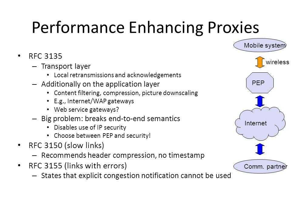 Performance Enhancing Proxies RFC 3135 – Transport layer Local retransmissions and acknowledgements – Additionally on the application layer Content fi
