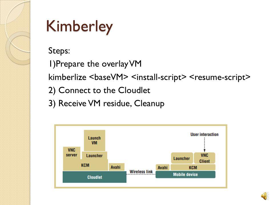 Implementation - Kimberley Mobile Device : Nokia N810 Internet Tablet Mobile OS: Maemo 4.0 linux Cloudlet Infrastructure: Desktop Computer Cloudlet OS