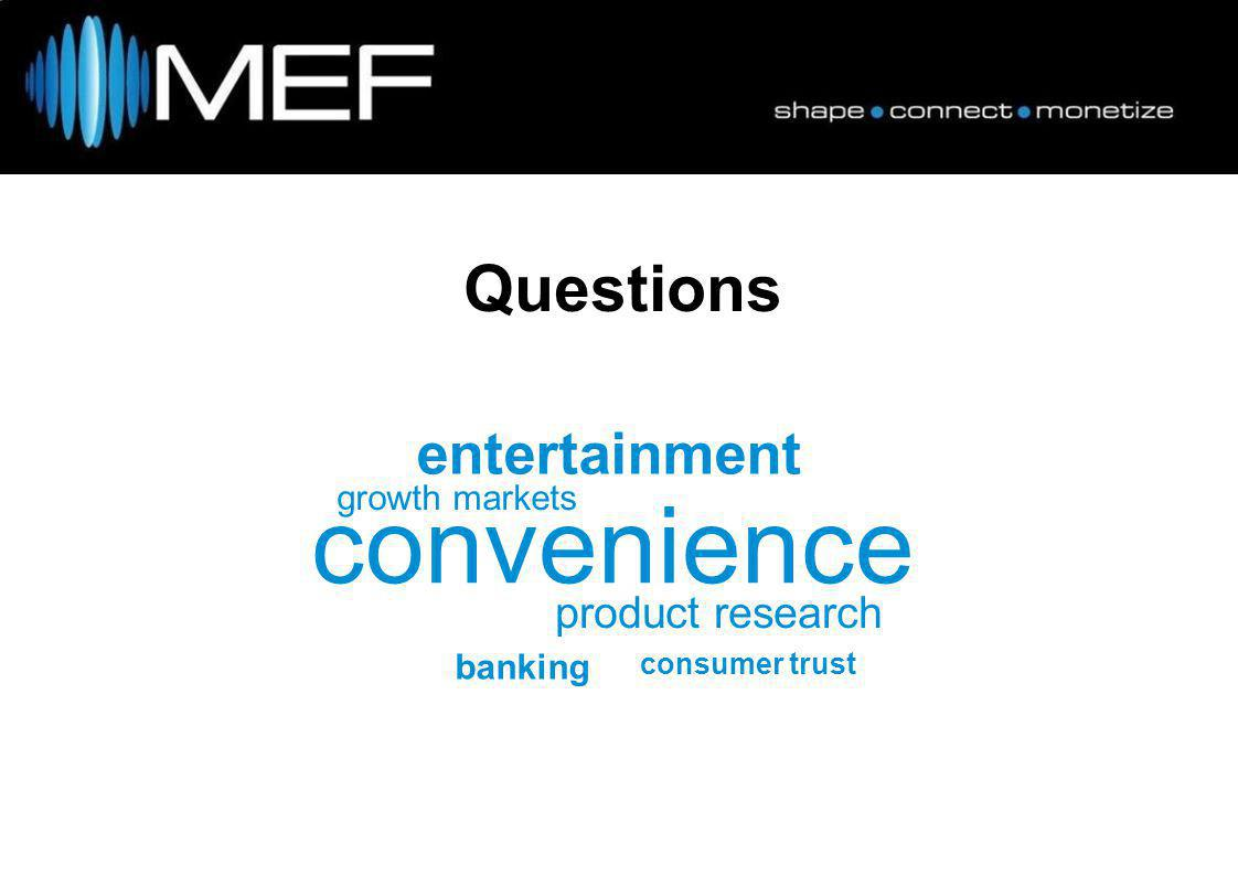 Questions convenience growth markets product research entertainment consumer trust banking