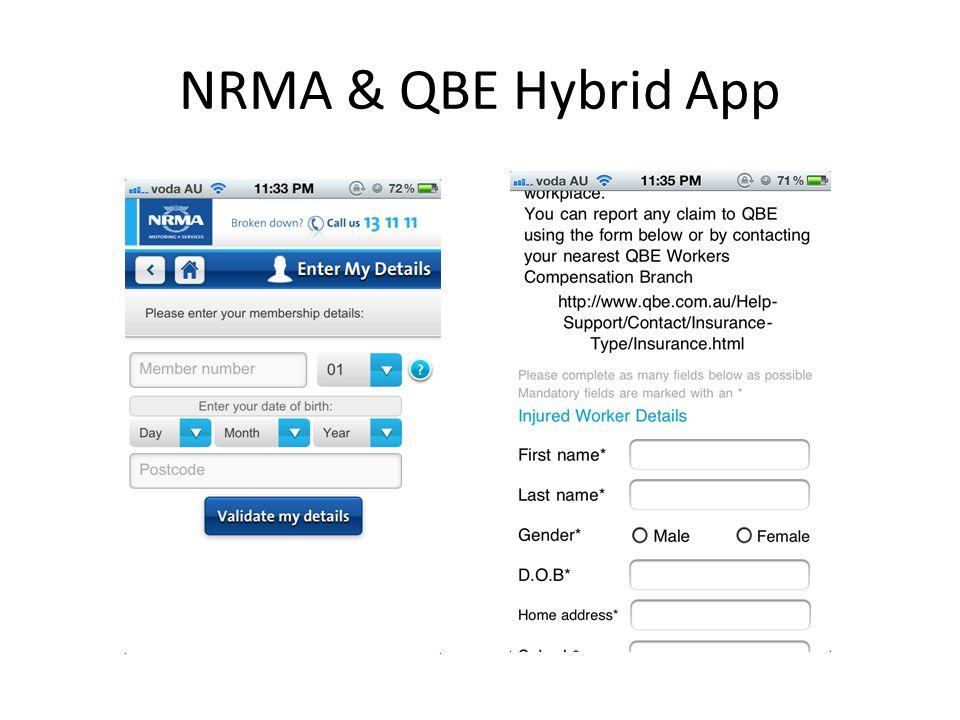 NRMA & QBE Hybrid App