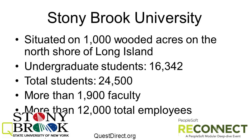QuestDirect.org Stony Brook University Situated on 1,000 wooded acres on the north shore of Long Island Undergraduate students: 16,342 Total students: