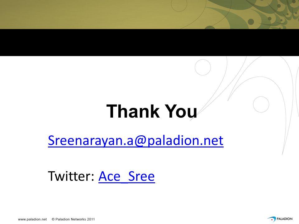 Thank You Sreenarayan.a@paladion.net Twitter: Ace_SreeAce_Sree