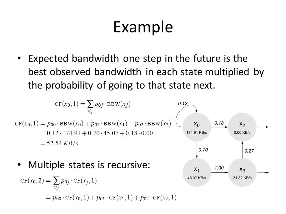 Example Expected bandwidth one step in the future is the best observed bandwidth in each state multiplied by the probability of going to that state next.