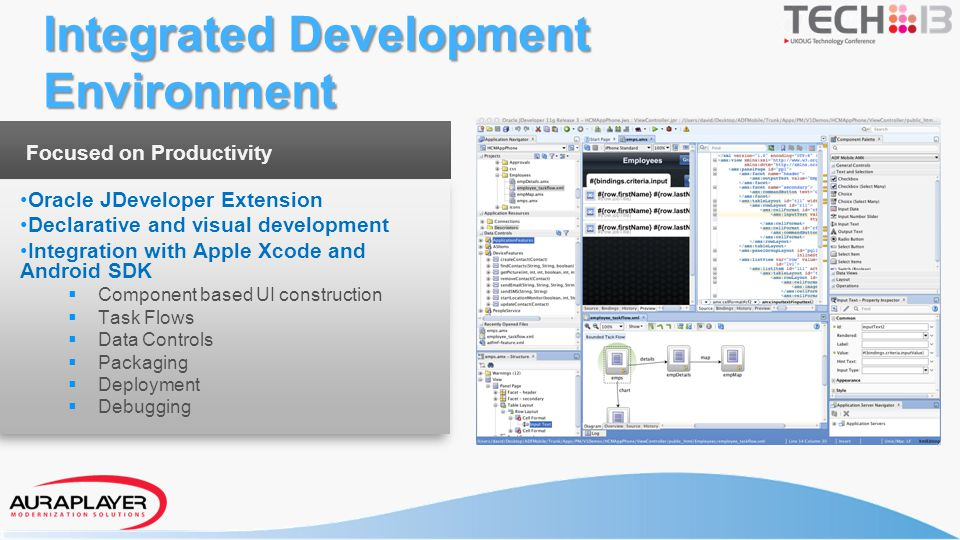 Focused on Productivity Oracle JDeveloper Extension Declarative and visual development Integration with Apple Xcode and Android SDK Component based UI