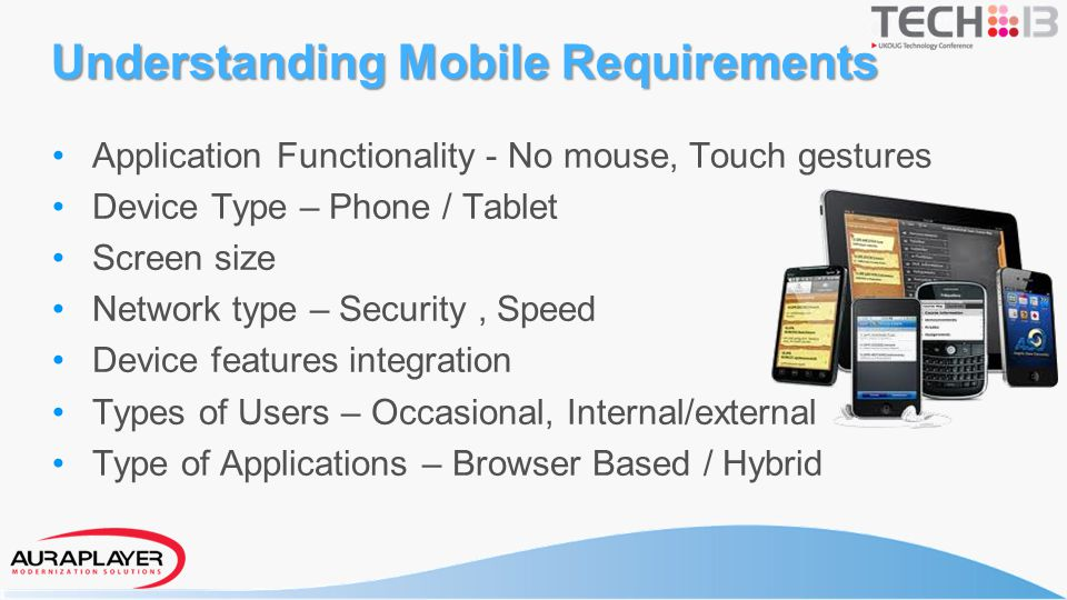 Understanding Mobile Requirements Application Functionality - No mouse, Touch gestures Device Type – Phone / Tablet Screen size Network type – Securit