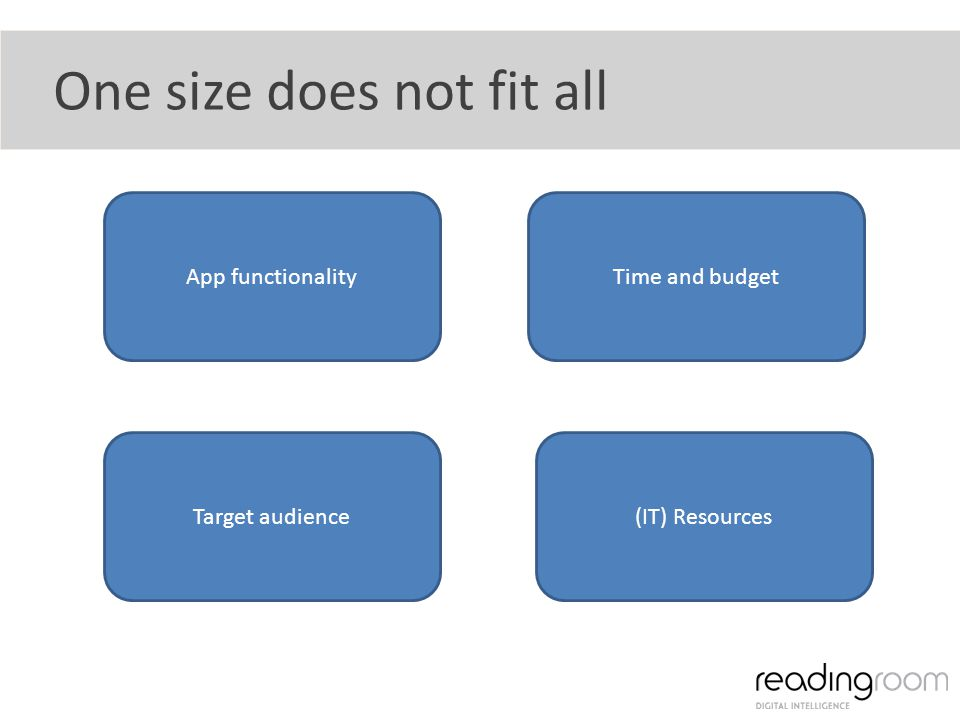 One size does not fit all App functionalityTime and budget Target audience(IT) Resources