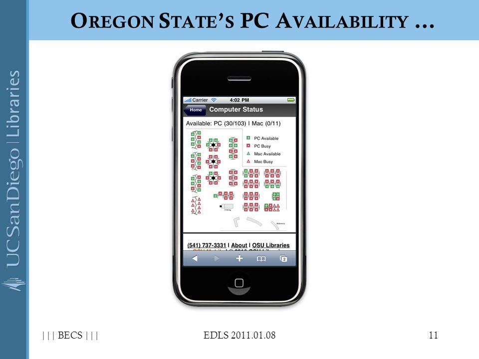 ||| BECS |||EDLS 2011.01.0811 O REGON S TATE S PC A VAILABILITY …