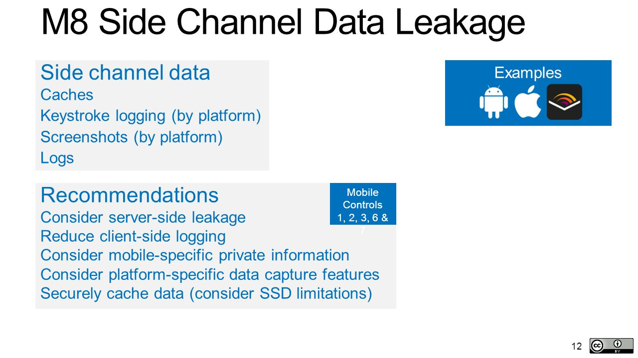 12 M8 Side Channel Data Leakage Side channel data Caches Keystroke logging (by platform) Screenshots (by platform) Logs Recommendations Consider server-side leakage Reduce client-side logging Consider mobile-specific private information Consider platform-specific data capture features Securely cache data (consider SSD limitations) Examples Mobile Controls 1, 2, 3, 6 & 7