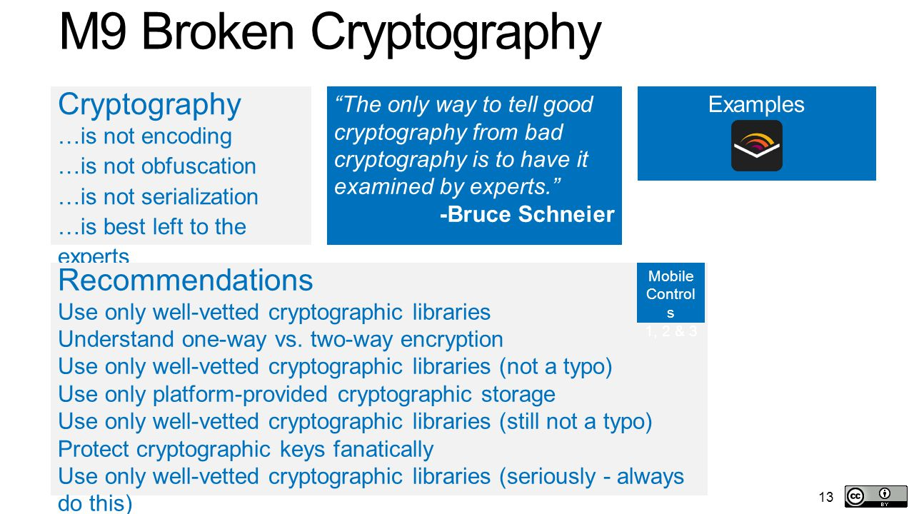 13 M9 Broken Cryptography Examples Cryptography …is not encoding …is not obfuscation …is not serialization …is best left to the experts Recommendations Use only well-vetted cryptographic libraries Understand one-way vs.