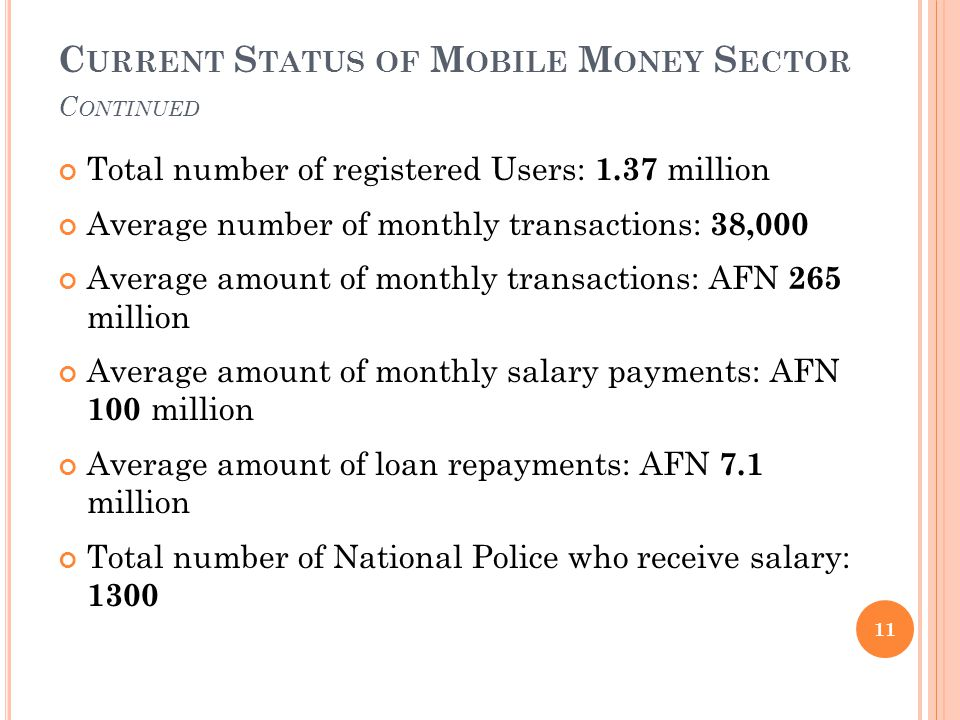 C URRENT S TATUS OF M OBILE M ONEY S ECTOR C ONTINUED Total number of registered Users: 1.37 million Average number of monthly transactions: 3 8,000 Average amount of monthly transactions: AFN 2 65 million Average amount of monthly salary payments: AFN 100 million Average amount of loan repayments: AFN 7.1 million Total number of National Police who receive salary: