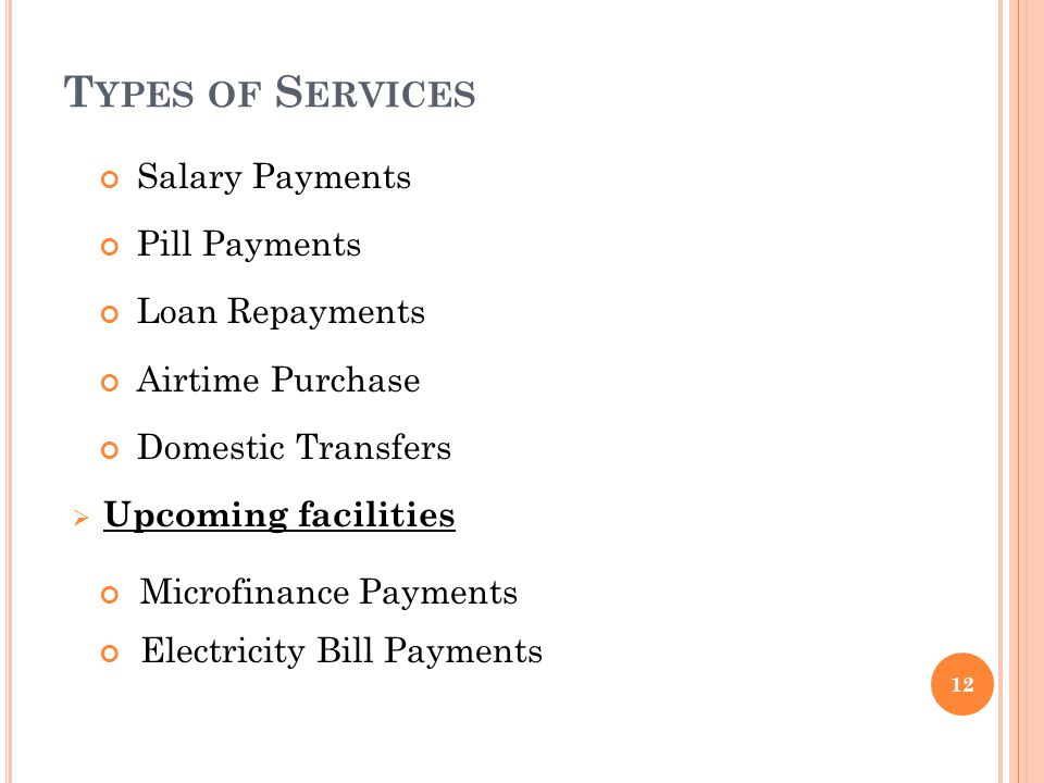 Salary Payments Pill Payments Loan Repayments Airtime Purchase Domestic Transfers Upcoming facilities Microfinance Payments Electricity Bill Payments T YPES OF S ERVICES 12