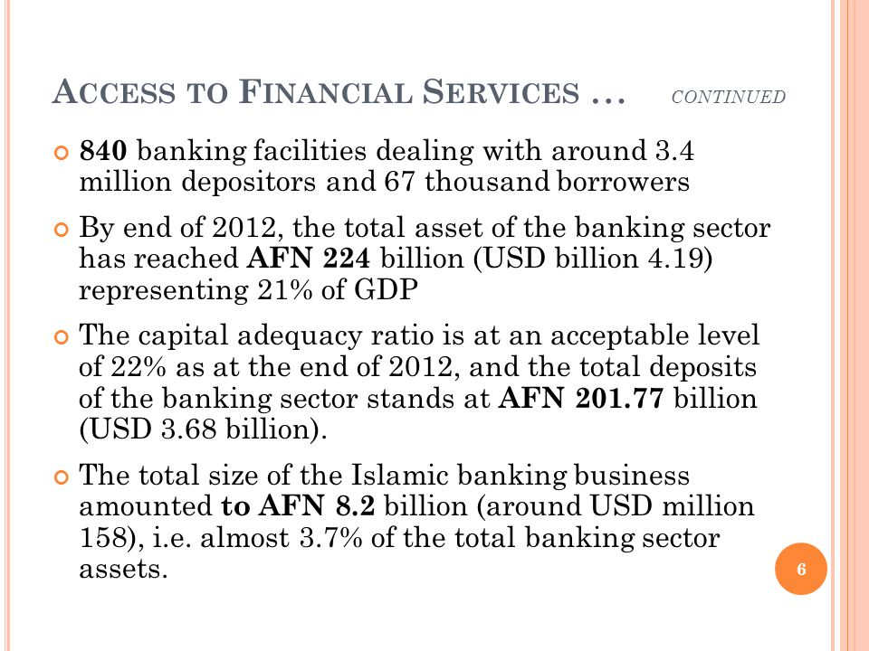 A CCESS TO F INANCIAL S ERVICES … CONTINUED 840 banking facilities dealing with around 3.4 million depositors and 67 thousand borrowers By end of 2012, the total asset of the banking sector has reached A FN 224 billion (USD billion 4.19) representing 21% of GDP The capital adequacy ratio is at an acceptable level of 22% as at the end of 2012, and the total deposits of the banking sector stands at A FN billion (USD 3.68 billion).