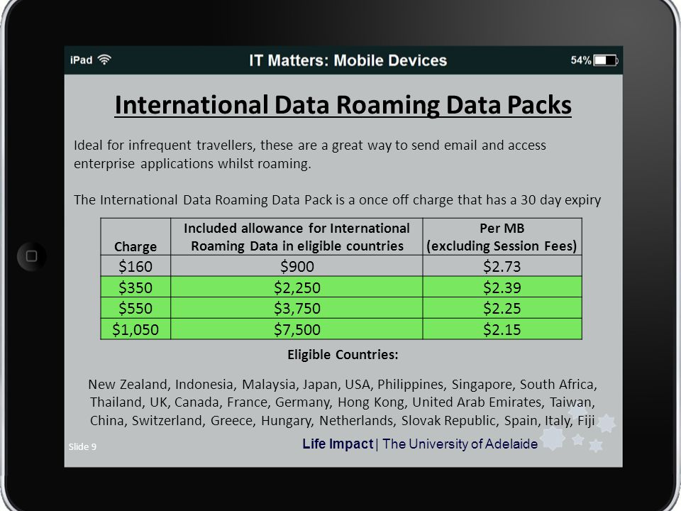 Life Impact | The University of Adelaide Slide 9 International Data Roaming Data Packs Ideal for infrequent travellers, these are a great way to send  and access enterprise applications whilst roaming.