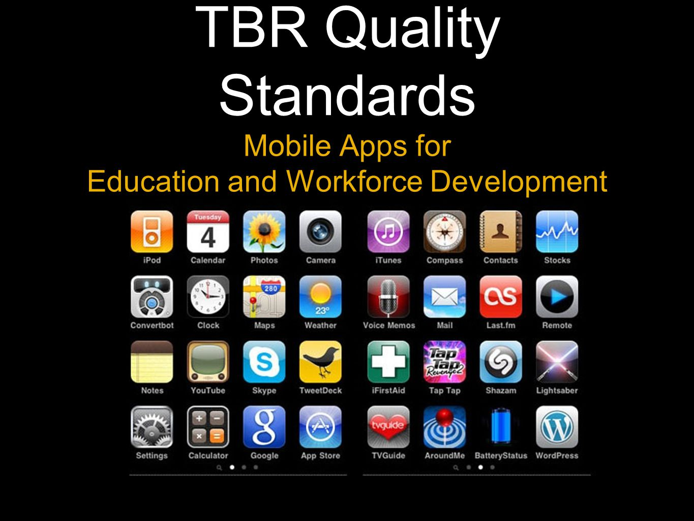TBR Quality Standards Mobile Apps for Education and Workforce Development