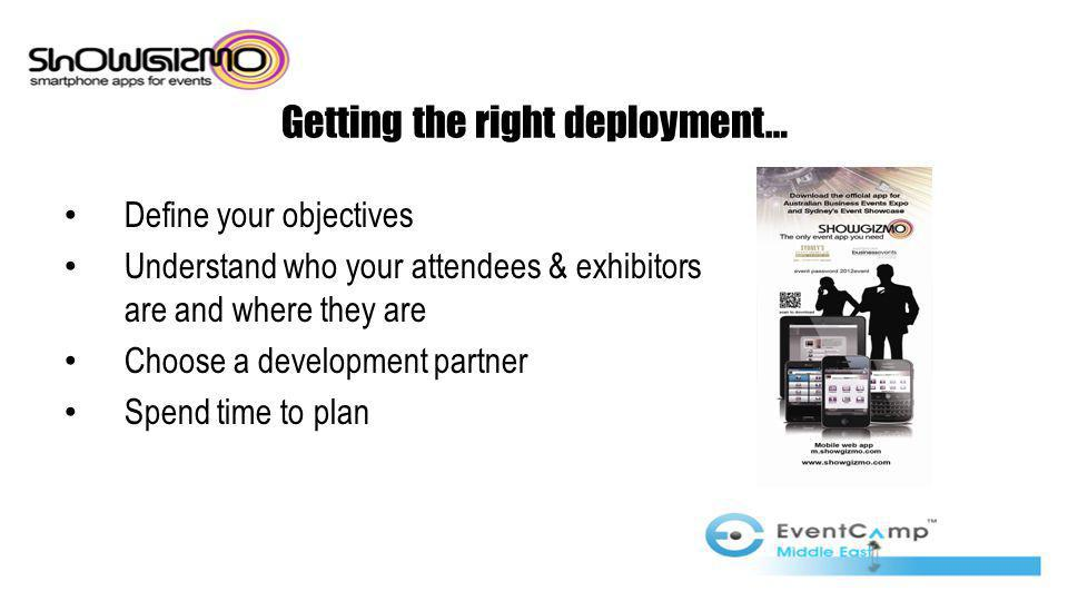 Getting the right deployment… Define your objectives Understand who your attendees & exhibitors are and where they are Choose a development partner Spend time to plan