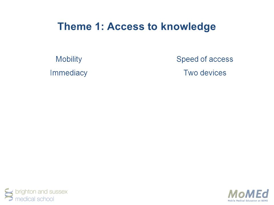 Theme 1: Access to knowledge Mobility Immediacy Speed of access Two devices