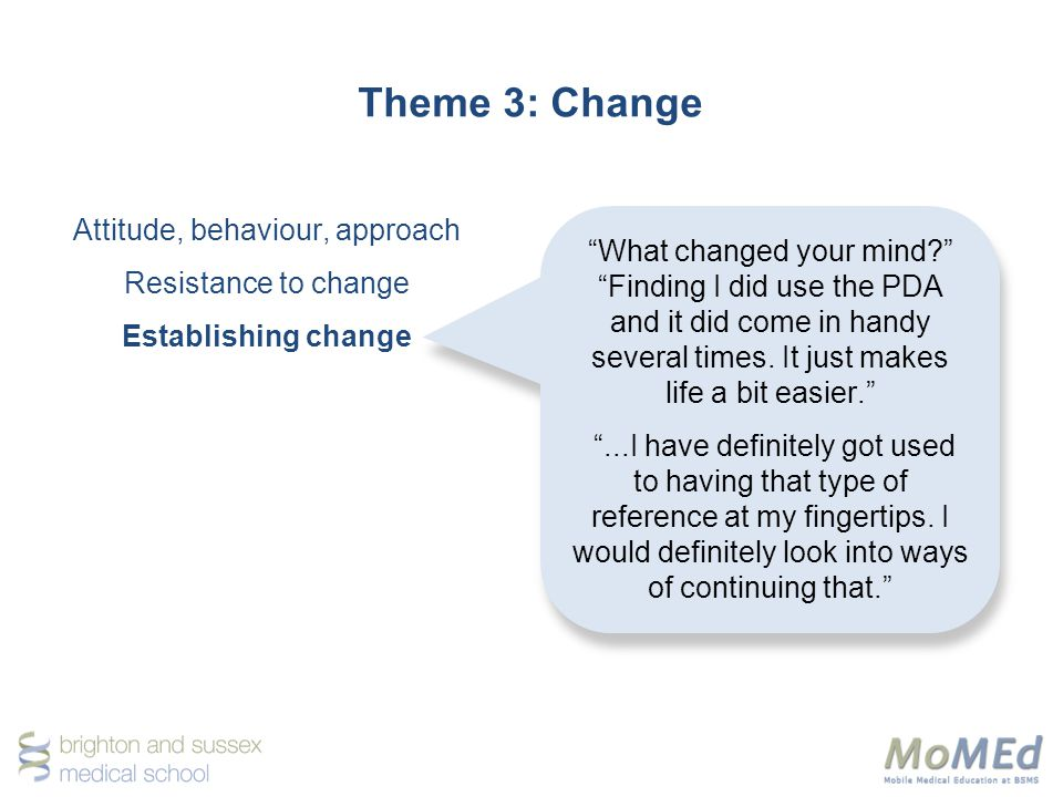 Theme 3: Change Attitude, behaviour, approach Resistance to change Establishing change What changed your mind.