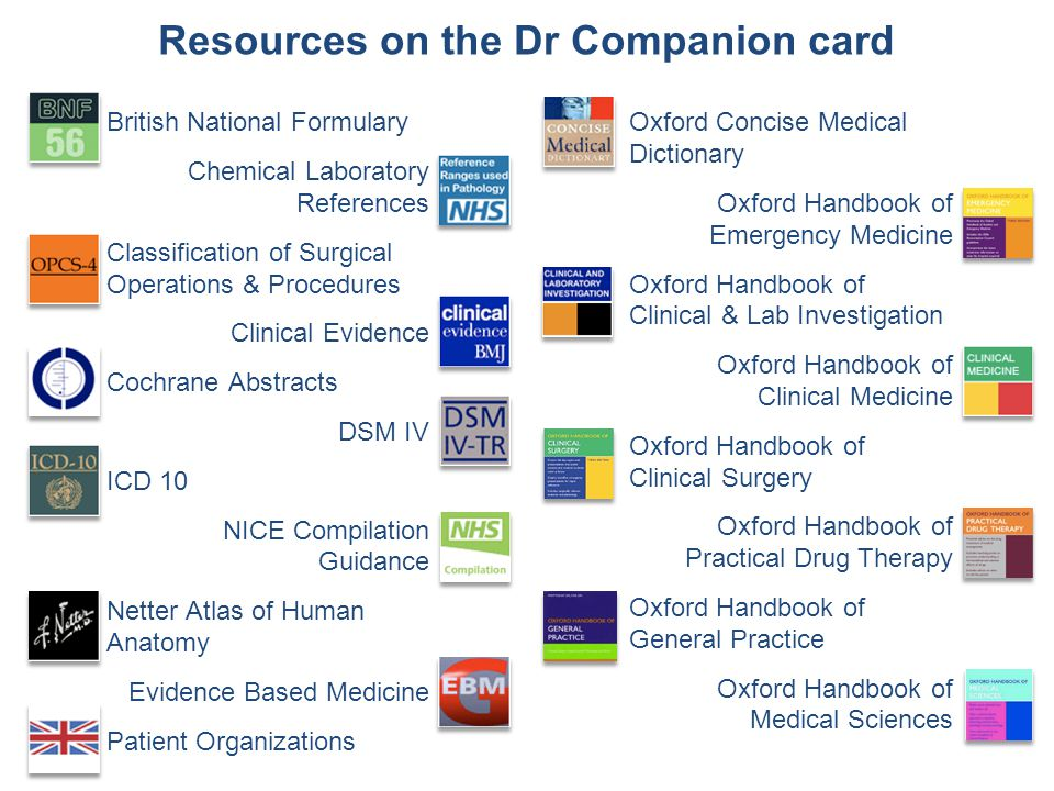 Resources on the Dr Companion card British National Formulary Chemical Laboratory References Classification of Surgical Operations & Procedures Clinical Evidence Cochrane Abstracts DSM IV ICD 10 NICE Compilation Guidance Netter Atlas of Human Anatomy Evidence Based Medicine Patient Organizations Oxford Concise Medical Dictionary Oxford Handbook of Emergency Medicine Oxford Handbook of Clinical & Lab Investigation Oxford Handbook of Clinical Medicine Oxford Handbook of Clinical Surgery Oxford Handbook of Practical Drug Therapy Oxford Handbook of General Practice Oxford Handbook of Medical Sciences