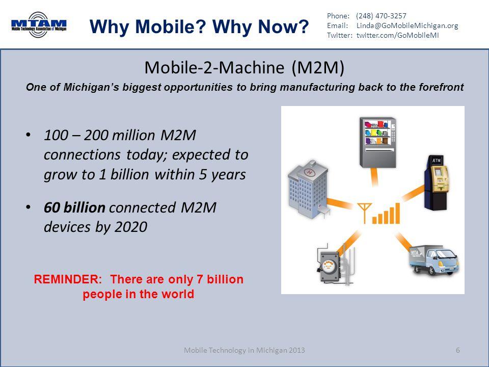 Phone: (248) 470-3257 Email: Linda@GoMobileMichigan.org Twitter: twitter.com/GoMobileMI Why Mobile? Why Now? Mobile-2-Machine (M2M) 100 – 200 million