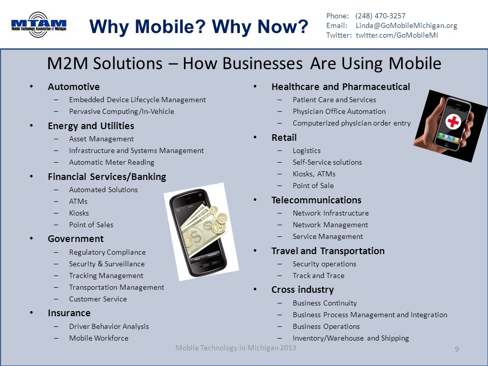 Phone: (248) 470-3257 Email: Linda@GoMobileMichigan.org Twitter: twitter.com/GoMobileMI Why Mobile? Why Now? M2M Solutions – How Businesses Are Using