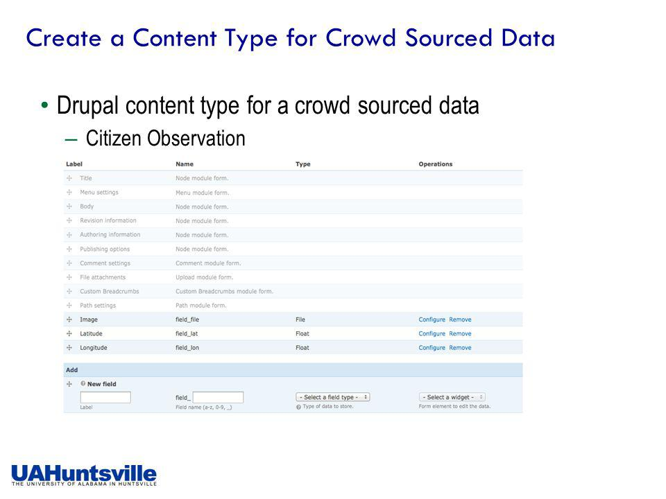 Create a Content Type for Crowd Sourced Data Drupal content type for a crowd sourced data – Citizen Observation