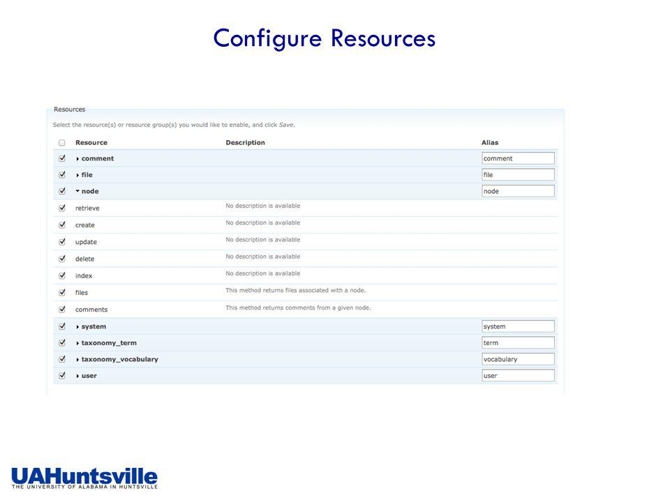 Configure Resources